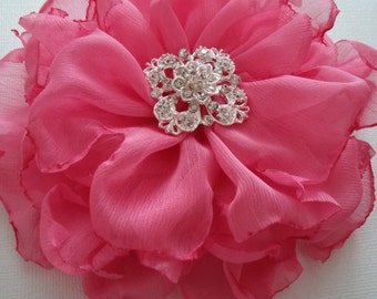 Coral pink Bridal flower, Wedding hair accessory, Bridesmaids pink coral flower, Fabric flower in coral pink, Coral pink corsage