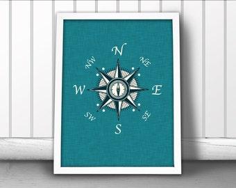Compass Rose Nautical Print, Linen Textured Nautical Art Print, Compass Rose Art Print, Nautical Art Print, Nautical Art Compass Rose Poster