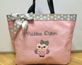 Personalized Girl Owl Tote Bag Baby Diaper Bag Pink and gray