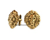 Lions Head Cufflinks Antiue Gold Neoclassic Leo Cuff Links Vintage Inspired Dress Shirts Accessory