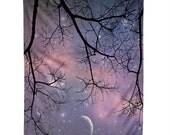 Starry Night Sky Wall Hanging. Wall Art. Tapestry. Purple night sky. Stars and Moon. Dorm Decor. Girly Home Dreamy Photography. Trees