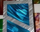 Metal painting art blue collage Abstract new style wall decor 3D modern sculpture unique Love sky original hand made by Artist Lubo Naydenov