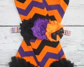 Halloween Shabby flower headband and Chevron chiffon Leg Warmers Girls Leggings black orange