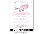nursery art printable, Lamb nursery decor, sheep nursery, birth stats wall art, nursery name, birthdate print, personalized nursery art