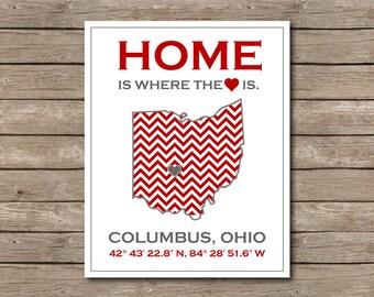 Ohio State Buckeyes Printable, Buckeye Columbus, Ohio Print OSU Art Print