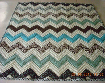 SALE Modern Baby Toddler Crib Quilt Browns and Blues Zig Zags Cotton Fabric