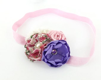 Pink Purple Headband for Girls - Satin Chiffon Rose Flowers Hair Clip - Photo Prop Shower Gift, Flower Girl in Wedding or for Easter