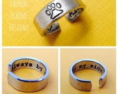 Always By My Side- Pet Memorial- Hand Stamped Aluminum Ring- Paw Print Ring
