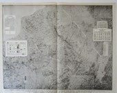 SECRET WWI BATTLE Map. General Pershing. Divisions of the Western Front. Militaria Black White Atlas Wall Art.