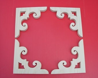 Victorian Gingerbread Screen Door Brackets / Wood Door Trim / 4 ea Brackets