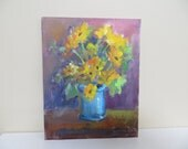 Vintage Oil Painting / Still Life FLORAL / Signed Ruby Bates / 8 X 10 / American