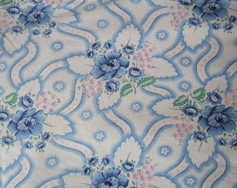 Vintage French Fabric Blue Roses Rosebuds Pink Flowers Green Leaves Flowing Ribbons Suitable for Patchwork Quilting, Lavender Bags Feedsack