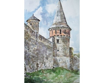Original Watercolor Painting. The two towers. Medieval landscape.