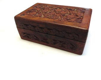 Jewelry Box Mens Womens Hand Carved Wood Valet Cuff Link Storage
