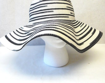 Black White Wide Brimmed Hat Floppy Wedding Bridal
