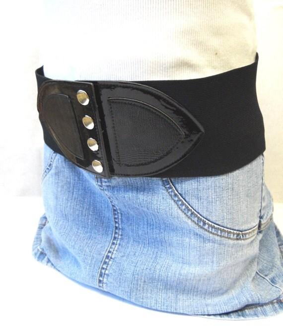 corset belt black wide stretch waist cinch