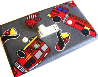 FIRE TRUCKS  Light Switch Cover Plate Switchplate Nursery Decor