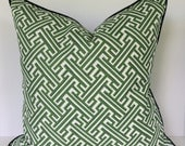 Decorative Pillow Covers  in Lacefield Trellis Slub Kelly/Geometric with Piping/Valance/Euro