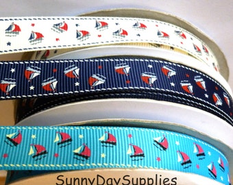 Sale, Nautical Ribbon, Grosgrain, Ships, Schooners, Patriotic, 5 YARDS, 5/8 inch wide, Grosgrain Ribbon, White, Navy and Turquoise Ships