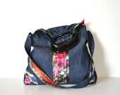 Denim purse bag,  Unique handmade fabric bag purse Soft denim bag, A line fabric purse