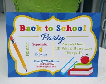 Back to School Invitation Printable or Printed with FREE SHIPPING - Baby Shower, Birthday, Back to School Soiree - School's In Collection