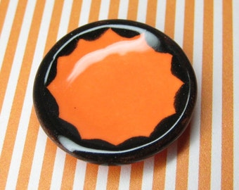 dollhouse miniature plate halloween orange & black scallop 25mm ceramic 1:12 scale one inch dish