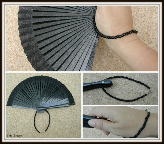 WRIST STRAP Colored Beads Chain Handle Made to Order Any Color Designed for Hand Fan