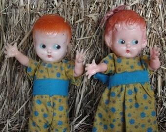 1950s vintage knickerbocker Hard Plastic Doll Rattle Redhead twins