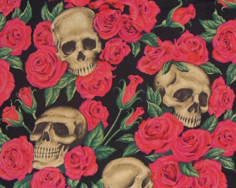 Resting in Roses Fabric /  Skulls  and Roses  / Alexander Henry / Red Roses / Black Background / By the Yard