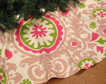 "Pink Christmas Tree Skirt, Pink and Green Suzani Print Tree Skirt, Pink Christmas Decoration, 48"" Diameter Xmas Tree Skirt"