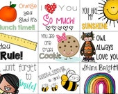 School Lunch Box Notes {Printable- Instant Download}