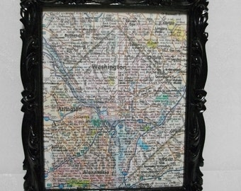 Dictionary Page Map Wall Art - Custom Map Page Printed on Dictionary or Bible Page -  Custom Wall Art