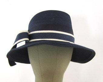 60s Spring Hat Blue Summer Hat Womans Vintage Hat Blue & White Hat 1960s Sun Hat Blue Dress Hat Navy Blue Sun Hat Navy White Straw Hat