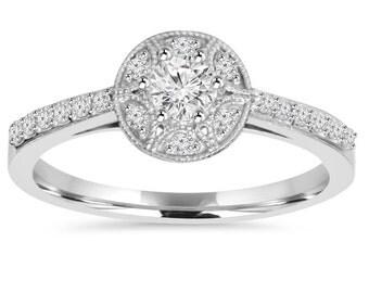 Diamond 1/2CT Vintage Halo Engagement Ring 10K White Gold