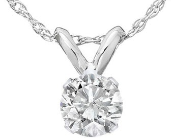 Lab-Grown Diamond Solitaire Pendent, Lab Grown VVS2/VS1 .25 Ct Solitaire, Lab-grown Solitaire pendent 14K white gold.
