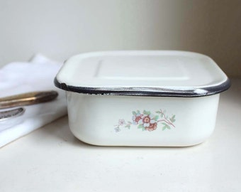 Vintage Enamelled Kitchen Container. Lidded Food Storage. White with Floral Motif. Soviet Russian Kitchen.