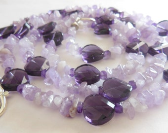 Amethyst on glass gemstone handmade necklace  742