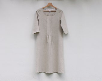Japanese style women's linen dress. Scoop neckline, 3/4 sleeve lenght. Gift ideas for Xmas. Made in Italy. Sizes S to XL.