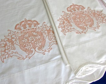 Beautiful Vintage White Hand Embroidered Pure 100% Combed Cotton Pillowcases