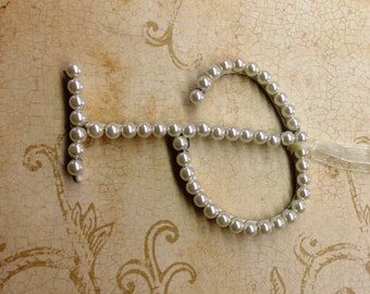 Beautiful Pearl Letter P - Wedding Cake Topper - Shower Gift Adornment - Letter P w/Burlap Loop - DIY Wedding - Pearl Christmas Ornament