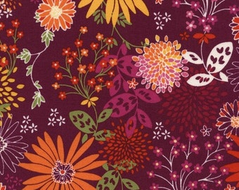 Timeless Treasures - Mixed Floral in Plum - Tribeca - By The Yard