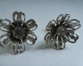 Antique Earrings Sparkling Rhinestone Flower Earrings Sparkling Rhinestone Screw Back Earrings