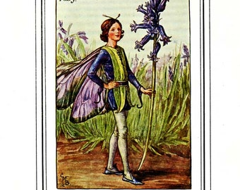 THE BLUEBELL FAIRY Vintage Book Plate c. 1940 Original Book Plate Book of the Flower Fairies Cicely M Barker