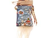 PN-15, One of a kind handmade/stitched/sawn sashiko embroidered denim pouch necklace