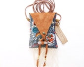 PN-16, One of a kind handmade/stitched/sawn sashiko embroidered denim pouch necklace
