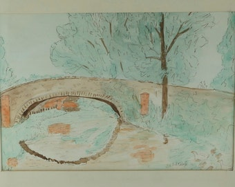 Vintage  Ink Watercolor Painting - River Scene -  Signed Lily H Hobbs -Penkelly Wales No.001159 hs