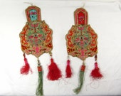 Antique Applique Chinese Very Rare Set of 2 Heavy Embroidered Silk Decorative 1930s