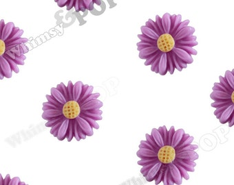 10 - Lilac Purple Small Gerber Daisy Sunflower Resin Cabochons, Daisy Cabochons, Sunflower Cabochons, Flower Cabochons, 13mm x 7mm (R8-185)