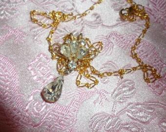 Authentic Vintage Art Nouveau Rhinestone Pendant on Gold Chain