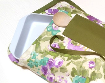 Insulated Covered Dish Carrier Green Purple Teal Floral--Ready to Ship